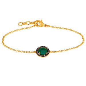 【送料無料】ブレスレット アクセサリ― ゴールドメッキブレスレットグリーンオニキスデザイナーファッションジュエリー18k gold plated bracelet brass green onyx designer cz unique fashion jewelry