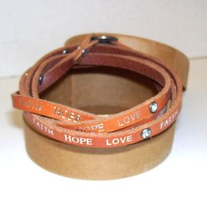 【送料無料】ブレスレット アクセサリ― ラップブレスレット free people leather boho wrap bracelet faith hope love w crystals boxed