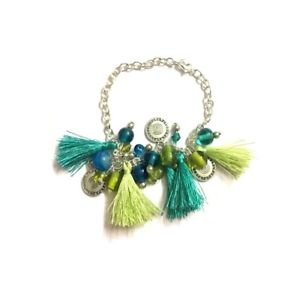 【送料無料】ブレスレット アクセサリ― ペンダントブレスレットwomen tassel pendant bracelet jewelry charm chain cute beads blue silver tone