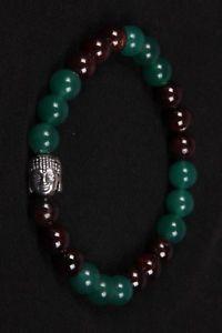 【送料無料】ブレスレット アクセサリ― オニキスガーネットラウンドビーズゴムブレスレットビーズ listinggreen onyx and garnet round beads with budha metal beads rubber bracelet