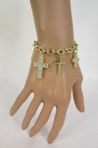 【送料無料】ブレスレット アクセサリ― メタルクロスブレスレットファッションジュエリーwomen gold metal cross charms bracelet fashion jewelry silver rhinestones bling