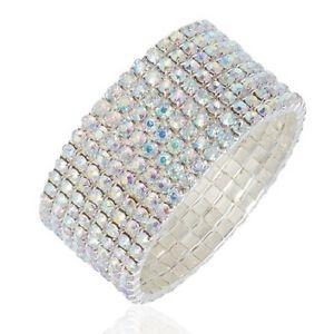 【送料無料】ブレスレット アクセサリ― クリアストレッチファッションブレスレットwedding bridal crystal 10 line clear ab rhineston stretch fashion bracelet ffd46