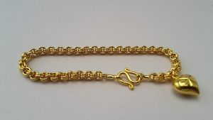 【送料無料】ブレスレット アクセサリ― チェーンkkタイバーツイエローゴールドグランプリブレスレットインチ chain 22k 23k thai baht yellow gold gp bracelet jewelry 7 inch with heart