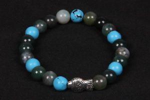 【送料無料】ブレスレット アクセサリ― ターコイズラウンドビーズメタルビーズゴムブレスレット listingmoss agate and turquoise round beads with fish metal beads rubber bracelet