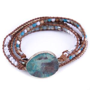 【送料無料】ブレスレット アクセサリ― ラップブレスレットミックスleather mixed natural stones gilded charm 5 strands wrap bracelets