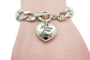 【送料無料】ブレスレット アクセサリ― チェーンリンクブレスレットファッションwomen silver metal chain links bracelet fashion follow your heart blessing heart