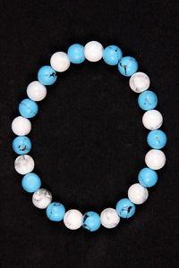 【送料無料】ブレスレット アクセサリ― ビーズゴムブレスレットゴムブレスレット listingturquoise and howlite beads rubber bracelet,round rubber bracelet