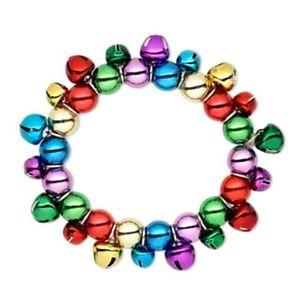 【送料無料】ブレスレット アクセサリ― マルチカラークリスマスジングルベルストレッチブレスレットlot of 2* multi colored christmas jingle bell charm stretch bracelets