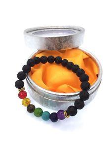 【送料無料】ブレスレット アクセサリ― チャクラヒーリングシルバーボックスストーン7 chakra healing natural lava stone with silver gift box