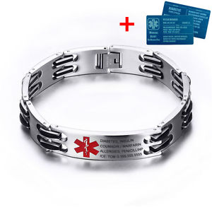 【送料無料】ブレスレット アクセサリ― カスタム87ステンレスアルミニウムidブレスレットcustom 87 stainless emergency medical alert id bracelet with aluminium id card