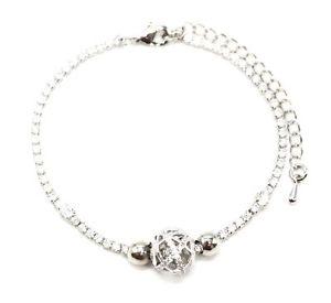 【送料無料】ブレスレット アクセサリ― bc3265e ボールラインストーンジルコニウム1ラインストーンbc3265e 1 row rhinestone bracelet with ball charm openwork rhinestone zirconium
