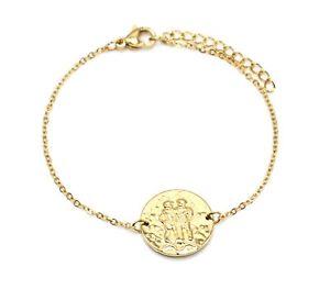 【送料無料】ブレスレット アクセサリ― チェーンブレスレットジェミニメダルサイン……bc3330ffine chain bracelet with gold steel charm gemini medal sign z