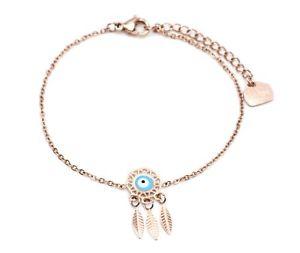 【送料無料】ブレスレット アクセサリ― ブレスレットキャッチャーローズゴールドスチールチェーンbc3103ffine bracelet rose gold steel chain with charm dream catcher dreamca
