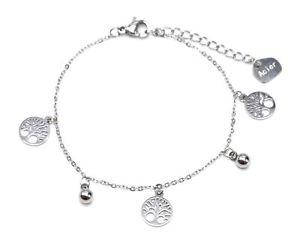 【送料無料】ブレスレット アクセサリ― ボールシルバースチールチェーンブレスレットbc3034ffine chain bracelet with charms trees of life and balls silver steel
