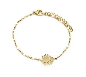 【送料無料】ブレスレット アクセサリ― bc3281fミニチェーンbc3281fmini chain bracelet fine beads enamel white with gold steel sheet