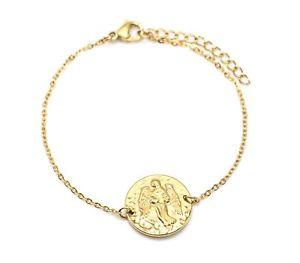 【送料無料】ブレスレット アクセサリ― チェーンブレスレットゴールデンバージンメダルサインbc3336ffine chain bracelet golden steel with virgin charm medal sign zo