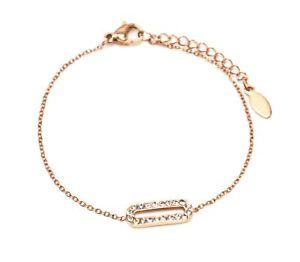 【送料無料】ブレスレット アクセサリ― bc3315dラインストーンbc3315dfine bracelet rose gold steel chain with charm rounded rectangle rhinestones