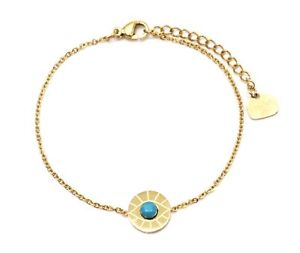 【送料無料】ブレスレット アクセサリ― turqubc3096fチェーンbc3096ffine chain bracelet golden steel with stone charm circle eye turqu