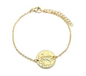 【送料無料】ブレスレット アクセサリ― ブルメダルサインチェーンブレスレットゴールデンスチールbc3328ffine chain bracelet golden steel with bull charm medal sign z