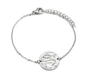 【送料無料】ブレスレット アクセサリ― メダルbc3323fチェーンbc3323ffine chain bracelet silver steel with medal charm fish sig