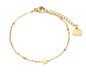 【送料無料】ブレスレット アクセサリ― ミニチェーンブレスレットビーズエナメルゴールドスタースチールオレンジbc3045fmini chain bracelet fine beads enamel orange with gold star steel