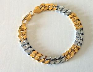 【送料無料】ブレスレット アクセサリ― ゴールドブレスレットイエローホワイトゴールド×gold bracelet yellow and white gold filled 18k gold filled 220mm*10mm