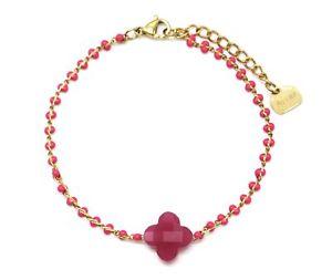 【送料無料】ブレスレット アクセサリ― ファインスチールチェーンブレスレットゴールデンビーズエナメルフクシアフリント…bc3112ffine steel chain bracelet golden beads enamel fuchsia flint tr