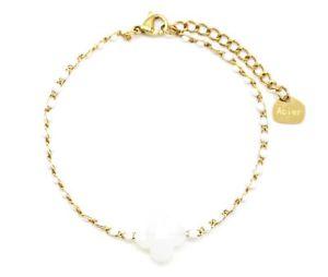 【送料無料】ブレスレット アクセサリ― ファインスチールチェーンブレスレットゴールデンビーズエナメルクローバーストーンホワイトbc3110ffine steel chain bracelet golden beads enamel white with clover stone