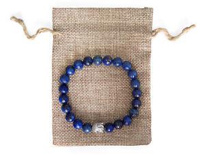 【送料無料】ブレスレット アクセサリ― ラピスラズリビーズブレスレットジュートバッグsilver buddha, lapis lazuli beaded semi precious bracelet amp; jute gift bag