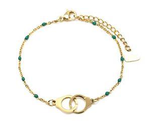 【送料無料】ブレスレット アクセサリ― ミニチェーンブレスレットビーズゴールドスチールエナメルグリーンbc3117fmini chain bracelet fine beads enamel green with gold steel handcuffs