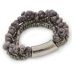 【送料無料】ブレスレット アクセサリ― マルチストランドグレーガラスビードフレックスブレスレットmultistrand grey semiprecious stone, metallic silver glass bead flex bracelet