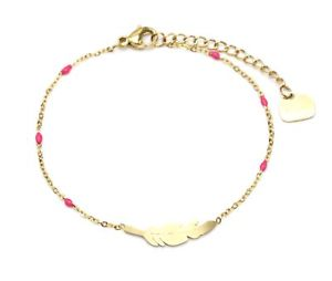 【送料無料】ブレスレット アクセサリ― フクシャbc3039fミニチェーンbc3039fmini chain bracelet fine beads enamel fuchsia with gold steel nib