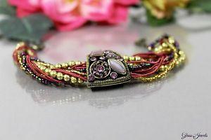 【送料無料】ブレスレット アクセサリ― ガラスブロンズブレスレットビーズヴィンテージパープルバイオレットレッドゴールドglass jewels bronze bracelet beads vintage purple violet red gold rhinestones o001