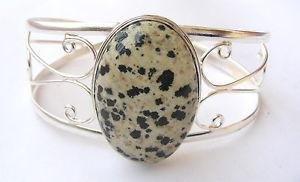 【送料無料】ブレスレット アクセサリ― ハンドメイドスターリングシルバージャスパーカフブレスレットhandmade 925 sterling silver gemstone cuff bracelet in  dalmation jasper se 17