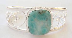 【送料無料】ブレスレット アクセサリ― ハンドメイドスターリングシルバーイギリスカフブレスレットhandmade 925 sterling silver gemstone cuff bracelet in larimar  uk51