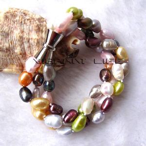 【送料無料】ブレスレット アクセサリ― マルチカラーバロックブレスレット8 79mm multi color baroque 3row freshwater pearl bracelet z u