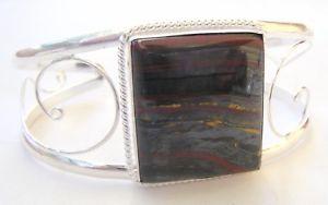 【送料無料】ブレスレット アクセサリ― ハンドメイドスターリングシルバータイガーカフブレスレットhandmade 925 sterling silver gemstone cuff bracelet in iren tiger 15