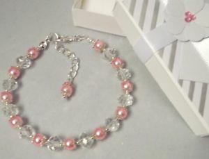 【送料無料】ブレスレット アクセサリ― ピンクガラスパールクリスタルビーズボックスブレスレットpink glass pearl and crystal beaded bracelet bridesmaid gift for her w gift box