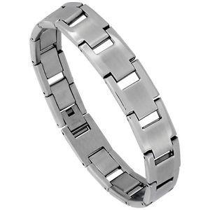 【送料無料】ブレスレット アクセサリ― ステンレススチールマットバーリンクブレスレットstainless steel matte center rectangular bar link bracelet
