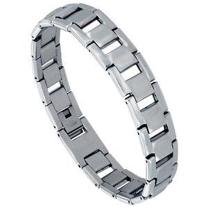 【送料無料】ブレスレット アクセサリ― ステンレススチールミラーバーリンクブレスレットstainless steel mirror finish rectangular bar link bracelet