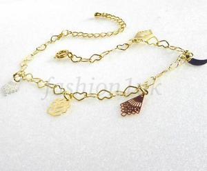 【送料無料】ブレスレット アクセサリ― 14kイェローゴールド23cm5 18アンクレット14k yellow gold plated charm heart 18 5 23cm adjustable ankle bracelet