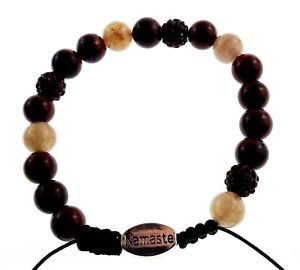 【送料無料】ブレスレット アクセサリ― ブレスレットシャムナマステーテキストorigin bracelet natural stone beads siam red brown beads hematite namaste text