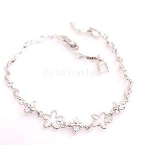 【送料無料】ブレスレット アクセサリ― ホワイトキュービックczブレスレットクリスマス20cmwomen girl white gold plated cubic cz charm bracelet xmas flower clear star 20cm
