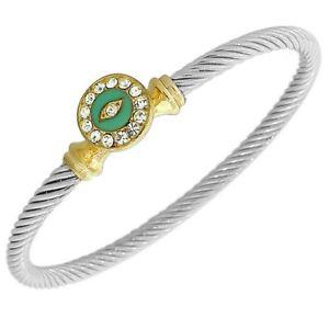 【送料無料】ブレスレット アクセサリ― ターコイズツイストケーブルブレスレットsilvertone turquoise white crystals cz twisted cable evil eye hamsa bracelet
