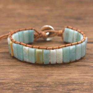 【送料無料】ブレスレット アクセサリ― アマゾナイトチューブチャクラhandmade amazonite crystal bead friendship bracelet square tube chakra leather
