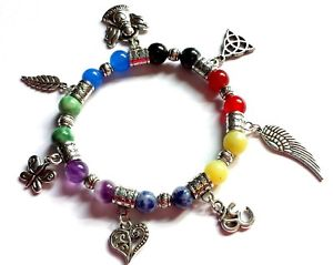 【送料無料】ブレスレット アクセサリ― 7ゴムチャクラ chakra bead gemstone healing bracelet with seven charms elasticated