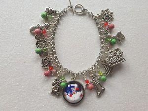 【送料無料】ブレスレット アクセサリ― クリスマスブレスレットテーマchristmas themed charm bracelet