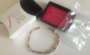 【送料無料】ブレスレット アクセサリ― エイボンブレスレットピンクリボンピンクavon breast cancer bracelet pink ribbon silvertone pink cz stones with extender