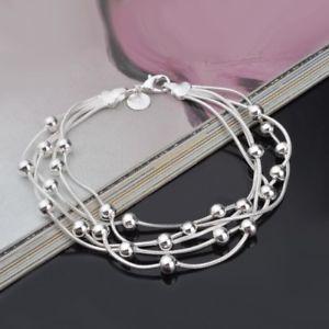 【送料無料】ブレスレット アクセサリ― マルチスネークチェーンシルバーブレスレットジュエリーアクセサリーmulti snake chain silver color beaded bracelet women fashion jewelry accessories
