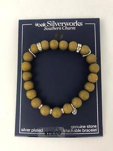 【送料無料】ブレスレット アクセサリ― マットベルクブレスレット  belk silverworks silver plated charm genuine matte stones stretch bracelet